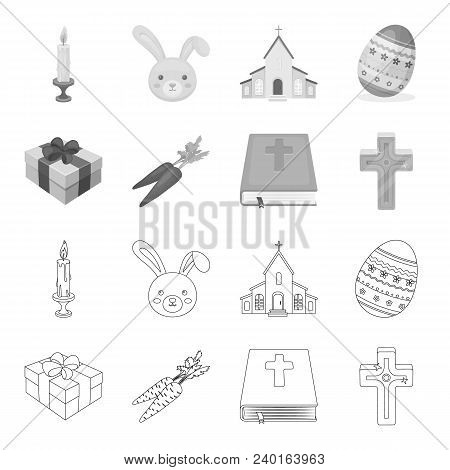 Cross, Bible, Gift And Carrots.easter Set Collection Icons In Outline, Monochrome Style Vector Symbo
