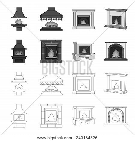 Fire, Warmth And Comfort. Fireplace Set Collection Icons In Outline, Monochrome Style Vector Symbol