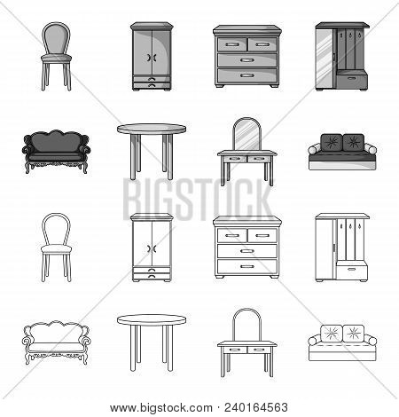 Sofa, Armchair, Table, Mirror .furniture And Home Interiorset Collection Icons In Outline, Monochrom