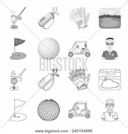 Field With A Hole And A Flag, A Golf Ball, A Golfer, An Electric Golf Cart.golf Club Set Collection