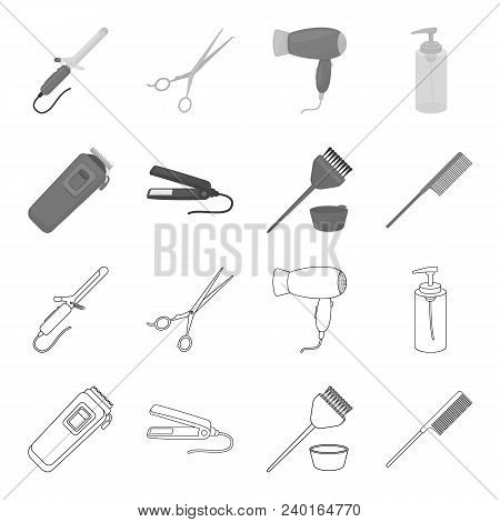 Trim, Hair Coloring, Comb, Straightener. Hairdresser Set Collection Icons In Outline, Monochrome Sty