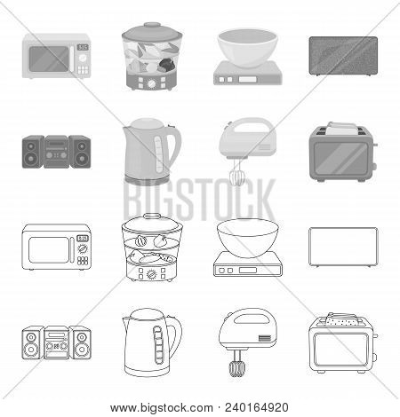 Electric Kettle, Music Center, Mixer, Toaster.household Set Collection Icons In Outline, Monochrome