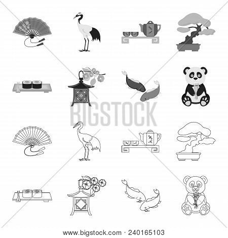 Sushi, Koi Fish, Japanese Lantern, Panda.japan Set Collection Icons In Outline, Monochrome Style Vec