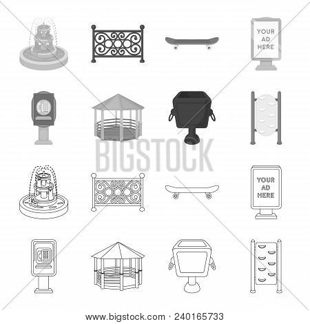 Telephone Automatic, Gazebo, Garbage Can, Wall For Children. Park Set Collection Icons In Outline, M