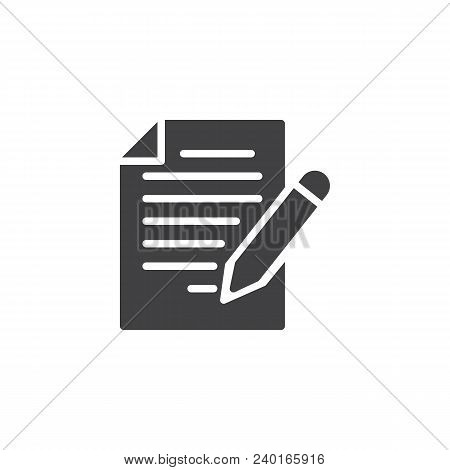 Edit Document Vector Icon. Filled Flat Sign For Mobile Concept And Web Design. Paper Document File A