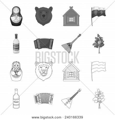 Russia, Country, Vodka, Accordion .russia Country Set Collection Icons In Outline, Monochrome Style