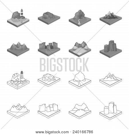 Mountains, Rocks And Landscape. Relief And Mountains Set Collection Icons In Outline, Monochrome Sty