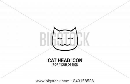 Cat Head Icon, Cat Logo, Line Style, Vector Icons.