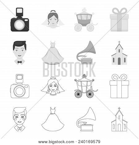 Wedding Dress, Groom, Gramophone, Church. Wedding Set Collection Icons In Outline, Monochrome Style