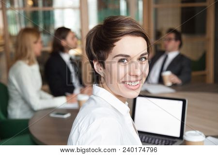 Ambitious Attractive Smiling Young Businesswoman Looking At Camera At Group Meeting, Happy Executive