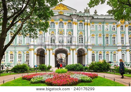 St. Petersburg, Russia - July 05, 2017:  The Courtyard Of The Winter Palace (museum Hermitage). Herm