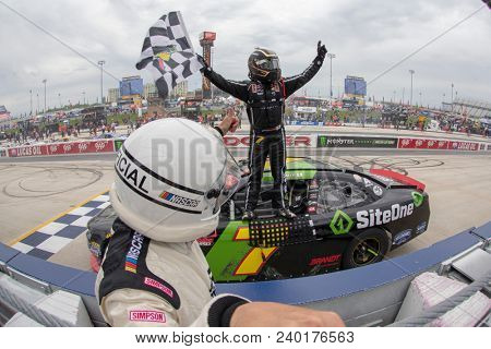 May 05, 2018 - Dover, Delaware, USA: Justin Allgaier (7) wins the OneMain Financial 200 at Dover International Speedway in Dover, Delaware.