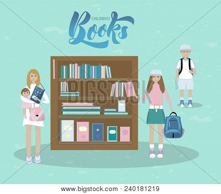 Vector Illustration Of Mother And Her Baby, A Boy With Book, A Girl With Book In Book Shop. With Ins
