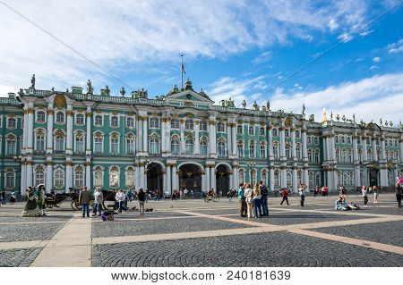 Saint- Petersburg, Russia - July 10, 2016: The Winter Palace In Saint-petersburg, Russia, Was The Of