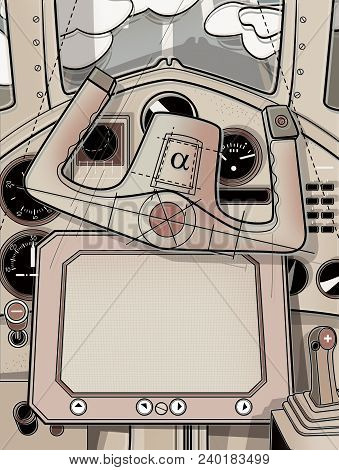 The Steering Cabin And The Helm Of The Plane. View From The Cockpit Of The Pilot. Digital Illustrati