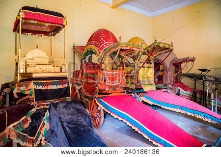 Jaipur, India - November 5, 2017: Close Up Bright Carriages Used By Maharajas On Display In Indian P