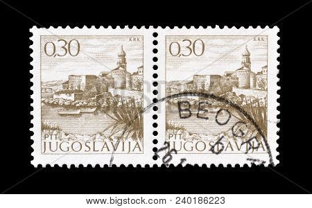 Yugoslavia - Circa 1972 : Cancelled Postage Stamp Printed By Yugoslavia, That Shows Castle On Krk Is