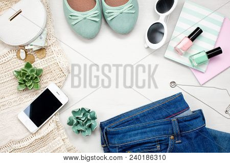 Flat Lay With Women Accessories. Fashion, Summer, Spring Trends And Shopping Concept