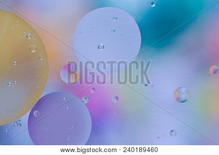 Colored Oil Droplets On The Water Surface.