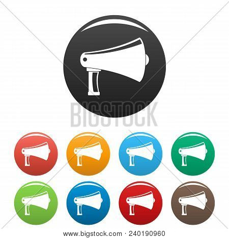 Vintage Megaphone Icon. Simple Illustration Of Vintage Megaphone Vector Icons Set Color Isolated On