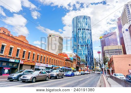 Calgary, Canada - May 6, 2018: Calgary Chinatown In Downtown Financial District With The Bow And Its