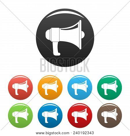 One Megaphone Icon. Simple Illustration Of One Megaphone Vector Icons Set Color Isolated On White
