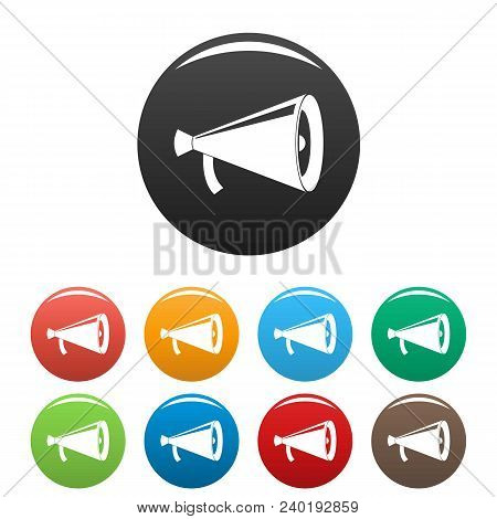 Megaphone With Handle Icon. Simple Illustration Of Megaphone With Handle Vector Icons Set Color Isol