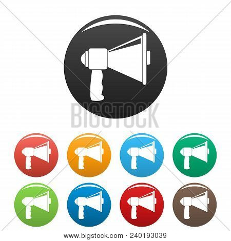 Small Megaphone Icon. Simple Illustration Of Small Megaphone Vector Icons Set Color Isolated On Whit