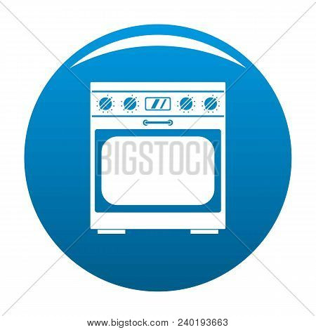 Domestic Gas Oven Icon. Simple Illustration Of Domestic Gas Oven Vector Icon For Any Design Blue