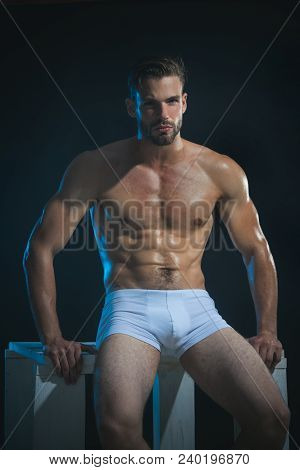 Fashion Portrait Of Sexy Male Fitness Model In Underwear. Male Swimwear & Underwear Concept. Muscula