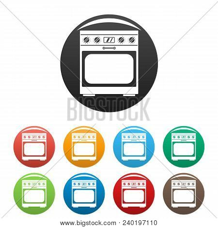 Domestic Gas Oven Icon. Simple Illustration Of Domestic Gas Oven Vector Icons Set Color Isolated On