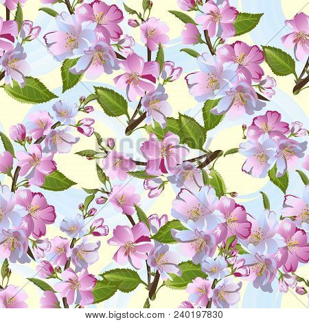 Cute Apple-tree Flowers Seamless Pattern, Spring Blossom. Retro Vector Background