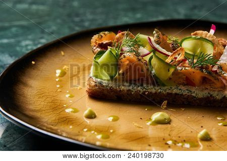 Delicious Sandwich With Cream Cheese, Tuna And Fresh Vegetables, Cucumber Radish On A Plate. Luxury