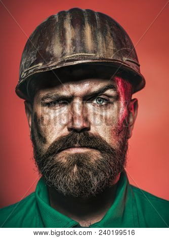 Architect, Worker, Engineer - Work. Portrait Bearded Man With Protect Helmet Wearing. Business, Buil