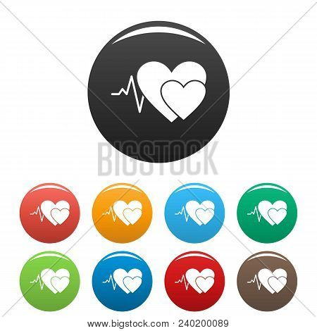 Cardiology Icon. Simple Illustration Of Cardiology Vector Icons Set Color Isolated On White