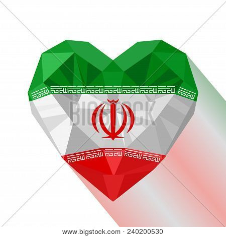 Vector Crystal Gem Jewelry Iranian Heart With The Flag Of The Islamic Republic Of Iran. Flat Style L
