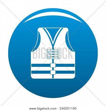 Rescue Vest Icon. Simple Illustration Of Rescue Vest Vector Icon For Any Design Blue