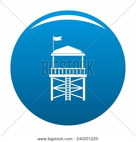 Rescue Tower Icon. Simple Illustration Of Rescue Tower Vector Icon For Any Design Blue