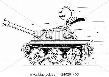 Cartoon Stick Man Drawing Conceptual Illustration Of Businessman Or Politician In Small Tank Or Tank