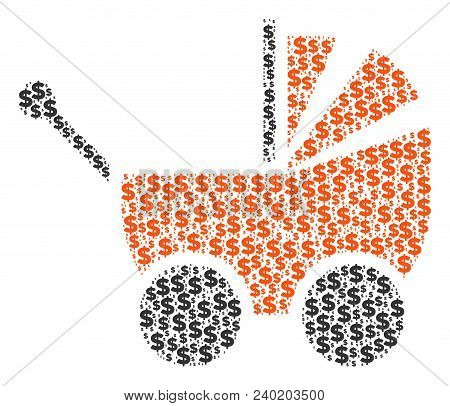 Baby Carriage Composition Of Dollar Symbols And Circle Dots. Vector Banking Signs Are United Into Ba