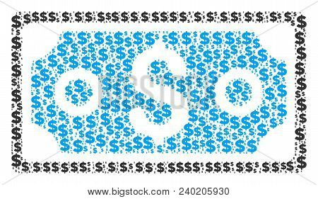 Dollar Banknote Composition Of Dollars And Sphere Spots. Vector Dollar Pictograms Are Arranged Into