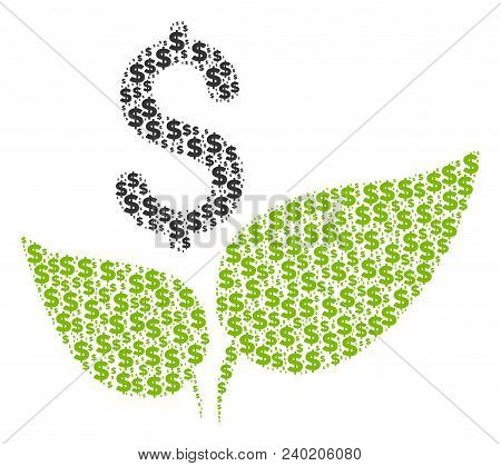 Eco Startup Collage Of Dollar Symbols And Circle Dots. Vector Banking Pictograms Are Combined Into E