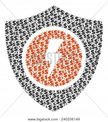 Electric Guard Collage Of Dollar Symbols And Circle Points. Vector Money Pictograms Are Organized In