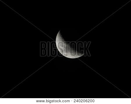 Waning Crescent Moon Captured In Christmas 2017 At Night.