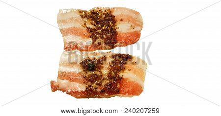 Raw Meat, Raw Bacon With Black Pepper Isolated On White Background, Brisket, Bacon Strips, Cooking F