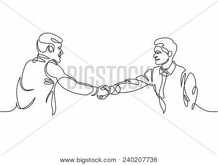 One Line Drawing Businessman. Two Smiling Businessmen Shaking Hands Together, Shaking Hands To Seal