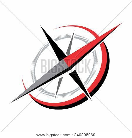Vector Nostalgia Naval Compass Illustration, Red & Black Color Isolated On White