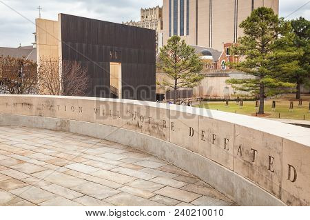 Oklahoma City, Oklahoma / Usa - March 31, 2018: Powerful Words Of, This Nation Will Not Be Defeated,