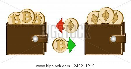 Exchange Bitcoin To Ethereum Between Wallets On A White Background , Exchange Cryptocurrency In The