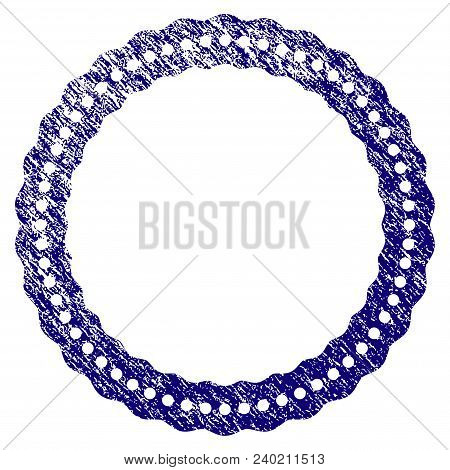 Dotted Rosette Circular Frame Grunge Textured Template. Vector Draft Element With Grainy Design And